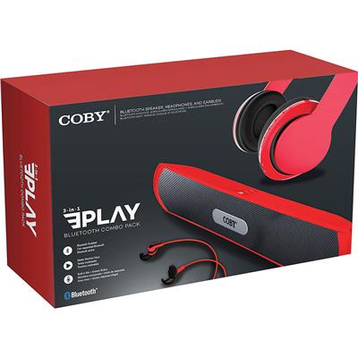 COMBO BLULETOOTH COBY CMB-105 PARLANTE + HEADSET + AURICULAR ROJO