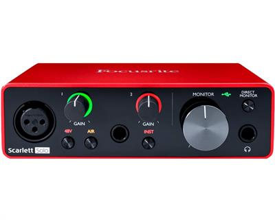 PLACA DE SONIDO FOCUSRITE SCARLETT SOLO 2IN/2OUT 3RA GEN