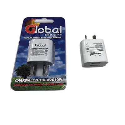 CARGADOR USB GLOBAL ELECTRONICS COLOR BLANCO