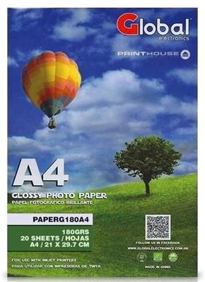 COMBO PAPEL FOTO 180GR GLOBAL RESMA 20 HOJAS A4 X 10