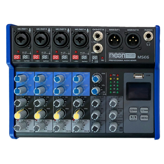 Consola Mixer 6 Canales Phantom Bluetooth Display