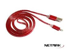 CABLE USB A IPHONE 8PIN 1M ROJO