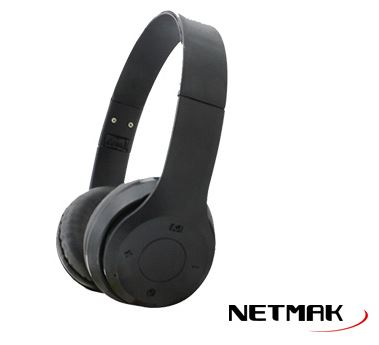 AURICULAR INALAMBRICO BT NETMAK NM-PAL NEGRO PLEGABLE
