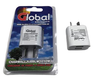 CARGADOR USB GLOBAL ELECTRONICS DOBLE USB 2.1A COLOR BLANCO